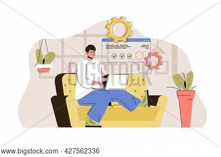 Freelance Job Concept. Freelancer Working On Laptop From Home Office Situation. Distant Work, Online