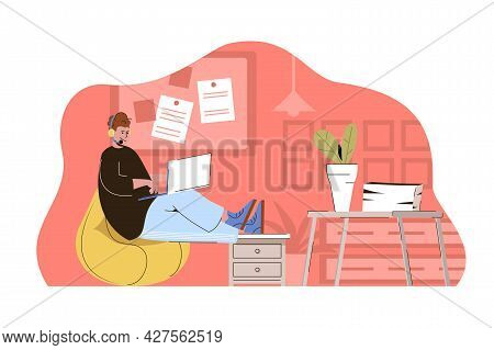 Help Desk Concept. Operator In Headphone Communicates Online With Customers Situation. Tech Support,