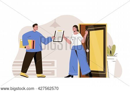 Home Delivery Concept. Courier Carrying Parcel To Customer Door Situation. Express Shipping, Deliver