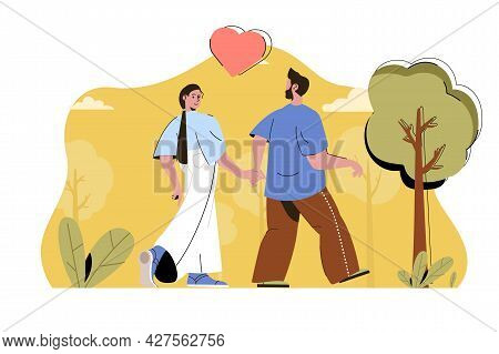 Love Couple Concept. Happy Loving Couple Walking In Park And Holding Hands Situation. Relationships,