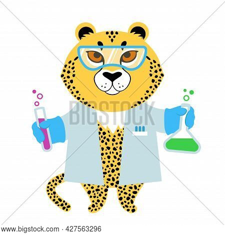 Vector Illustration Of A Cute Cartoon Cheetah In Lab Coat With Test Tubes
