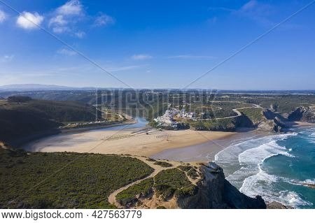 Beautiful Seascape And Landscape From Ocean And River Of Odeceixe Beach Village In The South Of Port