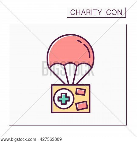 Humanitarian Aid Color Icon. Government Help. Basic Necessities Distributing. Exporting Social Prote