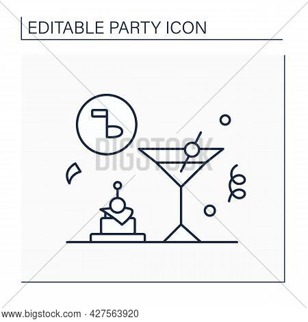 Cocktail Party Line Icon. Cocktail Reception. Celebration Organized For Purposes Of Social Or Busine