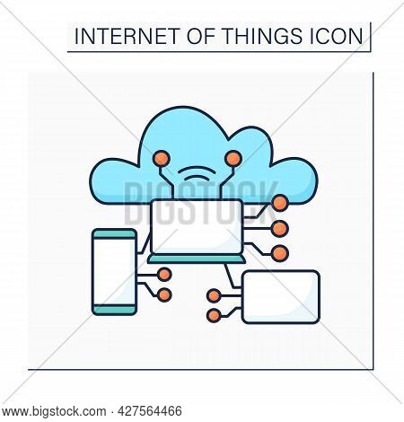 Internet Of Things Color Icon. Digital Smart Technologies Concept. Main Computer Connecting Other Ga