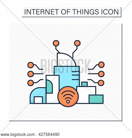 Smart City Color Icon. Digital Smart Technologies Concept. Modern City With High-quality Internet Co