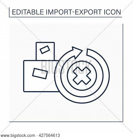 Irrevocable Line Icon. Not To Be Revoked Or Recalled. Cargo Unable To Be Repealed Or Annulled.import
