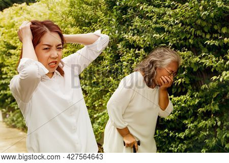 Woman Was Angry And Frustrated With Facial Expressions, Raised Her Head With Stress To Take Care Of