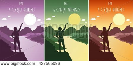 Happy Woman Stands On A Hill By The River Set Of Postcards. Silhouette Of A Woman In The Rays Of The
