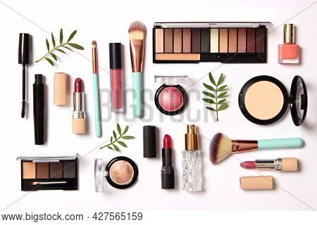 Professional Makeup Tools. Makeup Products. A Set Of Various Products For Makeup