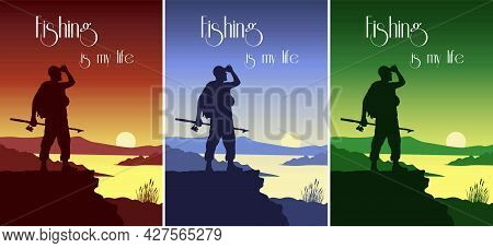 Silhouettes Of A Fisherman With A Fishing Rod In His Hand, Background Of The Sun And The River.