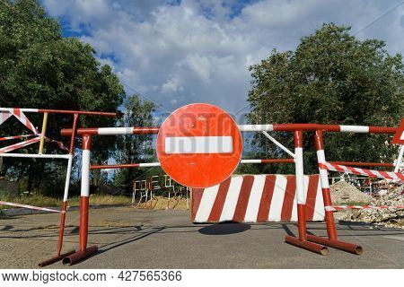 road sign - traffic is prohibited, the road is closed for maintenance