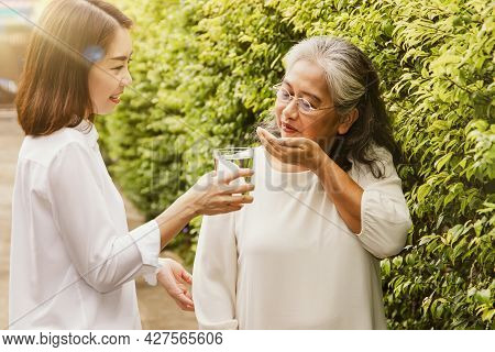 The Daughter Cared For The Elderly Mother With Concern By Giving Her Medicine And Drinking Water.the