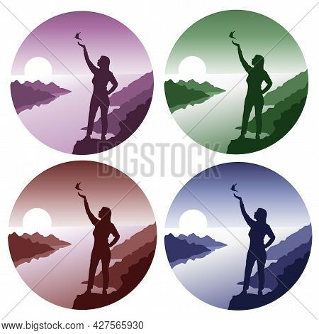 Have A Great Weekend, Woman And Bird Silouhette Set Of Vector Illustrations On The Background Of The