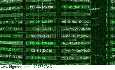 Hacking Passwords And Addresses. Animation. Passwords And Addresses Are Publicly Available After Bei