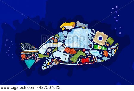 Save The Ocean. Different Waste Polluting Sea And Beach.