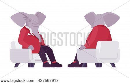 Elephant Man, Elegant Mister, Animal Head Stylish Human Sitting In Armchair. Dressed Up Gentleman, L