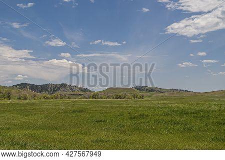 Black Hills, Keystone, Sd, Usa - May 31, 2008: Custer State Park. Wide Green Prairie Landscape Under