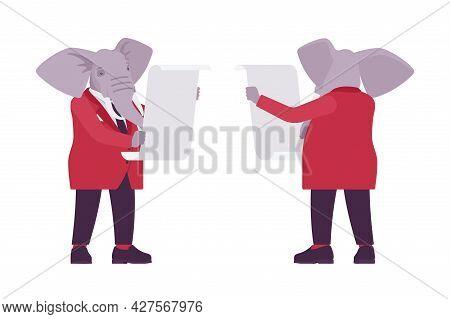 Elephant Man, Elegant Mister, Animal Head Stylish Human With Paper Scroll. Dressed Up Gentleman, Lar