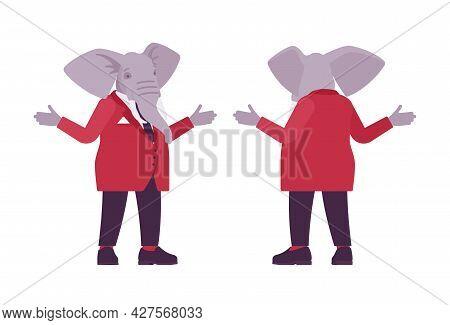 Elephant Man, Elegant Mister, Animal Head Stylish Human Shrugging Shoulders. Dressed Up Gentleman, L