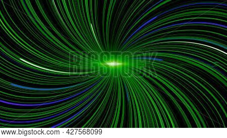 Spiral With Pulsating Curved Lines. Animation. Curved Lines Radiate From Luminous Point In Form Of S