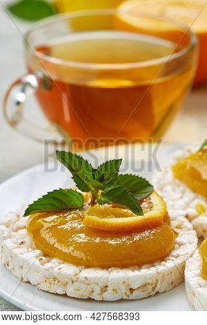 Breakfast With Healthy Diet. Cereal Breads With Fresh Seasonal Fruit Raspberries