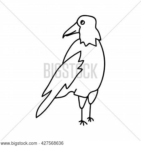 Single Hand Drawn Crow. Doodle Vector Illustration. Isolated On A White Background.