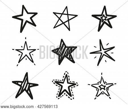 Hand Drawn Black Stars On Isolated White Background. Freehand Art. Black And White Illustration