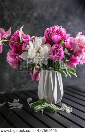 Fresh Peony Flowers In Vase. Bouquet Close Up. Stylish Floral Greeting Card.beautiful Peonies Bouque