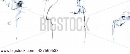 Smoke Hot Set. Blur Steam Mist Cloud, Black Natural Steam Smoke Effect Group Isolated On White Backg