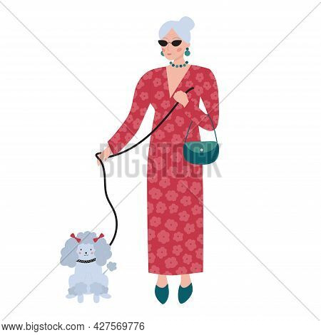 Old Rich Woman In Red Long Dress With Flowers. Senior Elegant Female Character With Poodle Dog. Cart