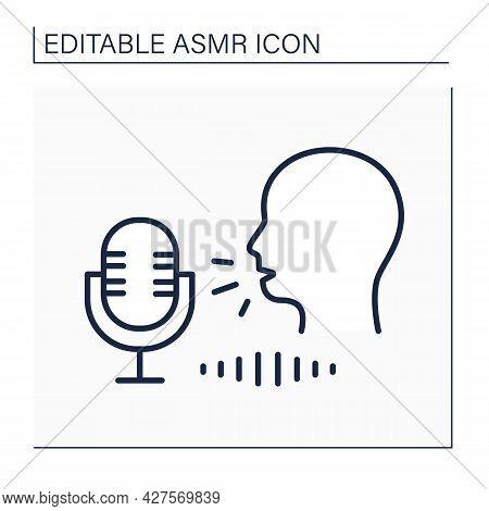 Asmr Line Icon. Autonomous Sensory Meridian Response. Person Whispers Into Microphone. Internet Tren