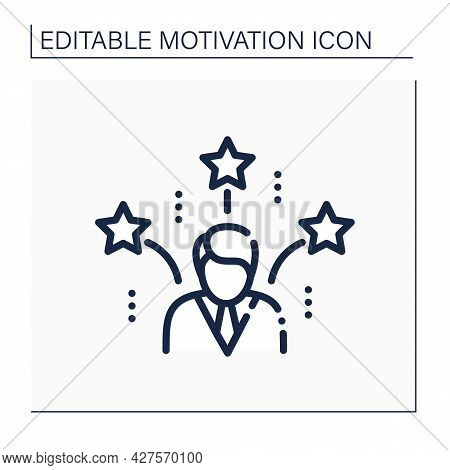 Successful Man Line Icon. Man Having Achieved Planned Goals, Become Popular, Made Wealth. Motivation