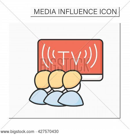Children Tv Color Icon. Child Watching Entertainment Kids Show Broadcast. Media Influence On Childre