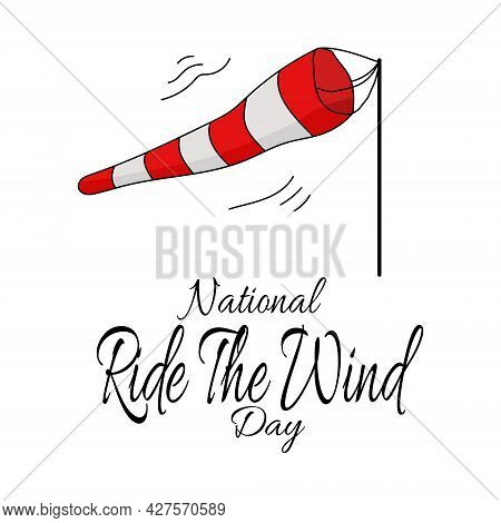 National Ride The Wind Day, Striped Wind Pointer For Banner Or Poster Vector Illustration
