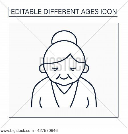 Senior Line Icon. Life Cycle. Old Woman. Retirement. Different Ages Concept. Isolated Vector Illustr