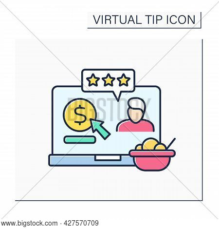 Review Color Icon. Positive Reviews With Donations. Praise For Delicious Food. Online Tips. Virtual