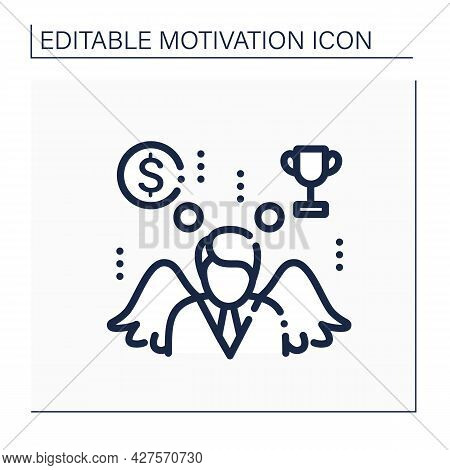 Motivation Line Icon. Process That Initiates, Guides, And Maintains Goal-oriented Behaviors. Achievi