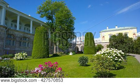 Pushkin, Russia - July, 2019: Garden With Flower Bed, Flowering Shrub, Thuja Near Catherine Palace,