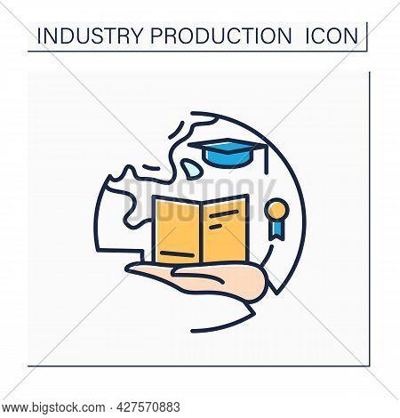 Education Industry Color Icon. Academic Program Creating. Pedagogy. Modern Teaching, Training Techno