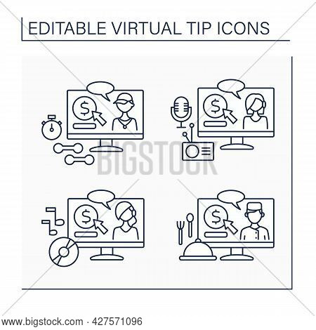 Virtual Tips Line Icons Set. Online Contributions For Sportsmen, Podcasters, Music Makers And Chefs.