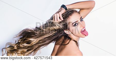 Tongue. Excited Woman, Funny Face With Open Mouth. Fashion Haircut. Girl With Healthy Skin And Hair.