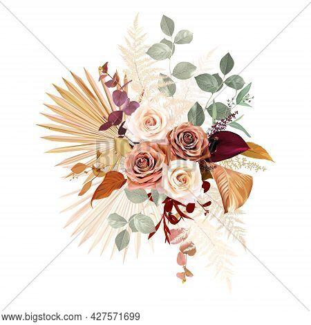 Rust Orange, Beige, White Rose, Burgundy Anthurium Flower, Eucalyptus, Pampas Grass