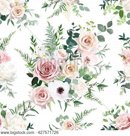 Dusty Pink And Blush Rose, Anemone, Orchid, Hydrangea Flowers, Sage Eucalyptus