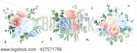Dusty Blue, Peachy Blush Rose, White Hydrangea, Ranunculus, Wedding Flowers, Greenery And Eucalyptus