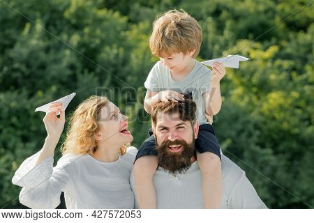 Family Like Summer Time Together. Concept Of Friendly Family. Parenthood And Childhood Concept. Pare