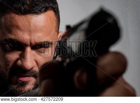 Need For Revenge. Close Up Gun Barrel. Killer Or Murderer Concept. Head Hunting. Man Handsome Mafia