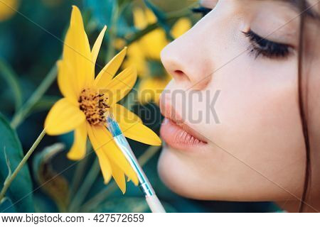 Sensual Woman Lips. Nature Girl Concept. Spring Painting. Yellow Spring Mood. Spring Lipstick.