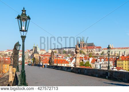 Prague Castle View From Charles Bridge On Sunny Spring Morning, Praha, Czech Republic.