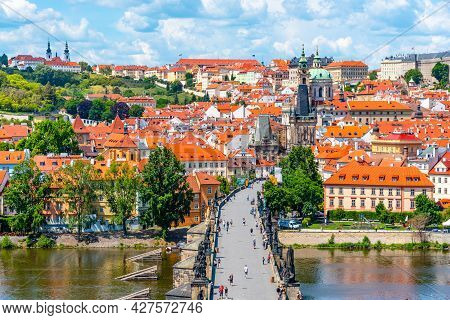 Prague Panorama With Charles Bridge Over Vltava River And Lesser Town. View From Old Town Bridge Tow